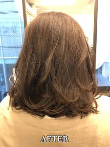 【エアウェーブ 】伸ばしかけロブの毛先パーマ