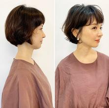 ショートヘアの40代の方に自然にかかる、低ダメージパーマ