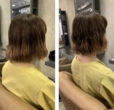 毛先ブリーチ3回の髪の毛にパーマをかけました♪